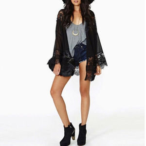 79122974546f Tops - Casual Vintage Beach Kimono Coverup - Black Lace